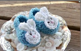 Wholesale Crochet Bunny Shoes - 100% handmade newborn Loafers,Aqua Blue Baby Bunny Ears Crochet Baby Booties,spring baby walking shoes,cartoon toddler shoes!10pairs 20pcs