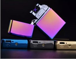 Wholesale Electronic Cigarette Charge Box - New Arrival Windproof Lighters Metal Double Arc Pulse Charging Mercedes USB Key Electronic Lighter 10 styles with gift box