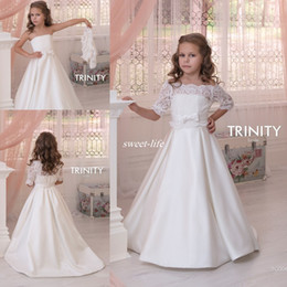 Wholesale Lace Sleeves For Strapless Dress - Custom Made Flower Girl Dresses for Vintage Wedding with Detachable Jacket A-Line with Bow Satin 2016 Cheap Child Holy First Communion Dress