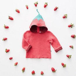 Wholesale Knitted Baby Sweater For Girl - Ins 2017 Strawberry Sweater for baby girl Children Hooded Knit Pullover Cute Design Girls clothings Autumn Winter