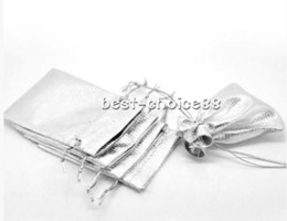 Wholesale Organza Bags 12x9cm - Free Ship 100Pcs Organza Jewelry Packing Pouch Wedding Favor silver Gift Bags Hot 12x9cm
