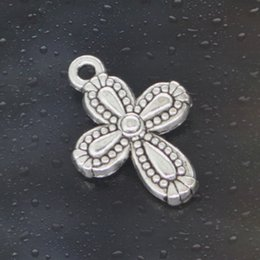 pandora crosses Canada - Free shipping 2016 HOT Fashion 75pcs cross flower Charms Antique Silver Alloy Jewelry DIY For Pandora Bracelet Pendant Necklace 18*13mm