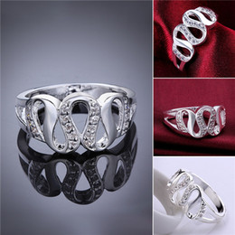 Wholesale Wholesale Sterling Silver Wave Ring - Mix size 10 pieces 925 silver Insets Wave Ring GSSR615 Factory direct sale brand new fashion sterling silver finger ring