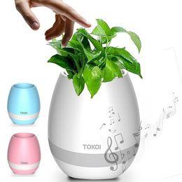 Noite de panela luz on-line-Moda Inteligente Música Bluetooth Jardim Bonsai Música Vaso de Flores Night Light Plantadores de Toque Inteligente Lâmpada Lâmpada Recarregável