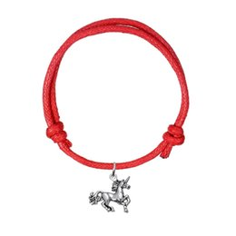Wholesale Fashion Bracelet Cord - Handmade Adjustable Charm Bracelet Antique Silver Plated Unicorn Horse Charm Wax Cord Bracelet Fashion Animal Jewelry