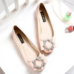 Wholesale Cheap Women Wedding Shoes - 2016 Fashion designer women flats shoes Square toe Crystal Diamond Bigger size Plus 34-43 flat heels platform Cheap online stores