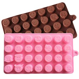 Wholesale Ice Cube Moulds - Emoji Emotion Cake Mold Smiley Chocolate Candy Baking Mould Ice Cube Tray Random Color 28-cavity per Sheet