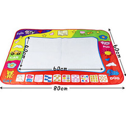 Wholesale Toy Magic Drawing Board - Wholesale-Big size 80x60cm Water Drawing Toys Mat Aquadoodle Mat&1 Magic Pen Water Drawing board baby play