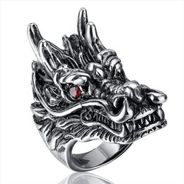 Wholesale Dragon Crystals - New Top Quality Titanium Steel Rings Finger Dragon Head Punk Style 316L Stainless Steel For Men Ring Party Birthday Jewelry