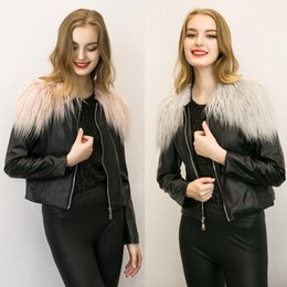 Wholesale Plus Size Woman Leather Jacket - 2017 Sell like hot cakes Women's PU Leather outerwear Jacket Autumn Winter Coats Short Zipper Slim Fit With Faux Fur Collar Plus Size 3XL