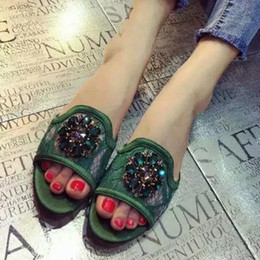 Wholesale Wedge Green Shoes Women - Color Rhinestone Wedge Platform Sandals Women Summer Shoes Bohemia Style Fashion Flip Flops Sandals Shoes Woman