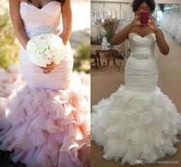 Discount wedding dress crystal sash blush - Mermaid Blush Pink Wedding Dresses Plus Size Pleats Organza Tulle Cascading Ruffles With Crystals Beading Sash Bridal Gown Vestidos de Novia
