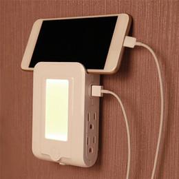 Wholesale Dusk Sensor - LED Night Light Dual USB Ports Charging 4-LED Dusk to Dawn Sensor Night Light Lamp Wall Charger For Bedroom Living Room