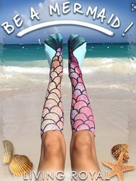 2019 meias para adolescentes Meias Mulheres Sereia Padrão Meias Estilo Praia Adolescente Sereia Cauda Padrão De Escala De Peixe Cosplay Meia Casual Animal Impresso Na Altura Do Joelho Longo Meias meias para adolescentes barato