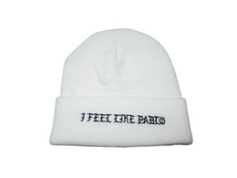 Wholesale Hats H - I Feel Like Pablo Beanie Fashion Unisex Embroidery Winter Beanies Skullies Knitted Hats Skull Caps for men h women Free