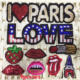 Wholesale Embroidery Patches Badges - 9pcs Love Paris Lips Heart Sequines Patches Mix Glitter Embroidery Sew On Patch For Clothing Accessories Appliques Motif Badge parches