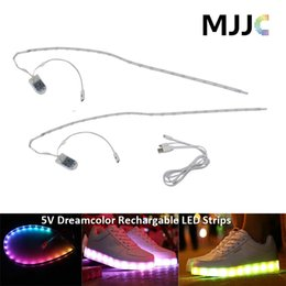 Wholesale Rechargeable Led Light Strips - Dream Color LED Strip Light RGB SMD5050 Flexible 5v waterproof LED Strip Lamp USB Charging Rechargeable Battery Powered for Shoes