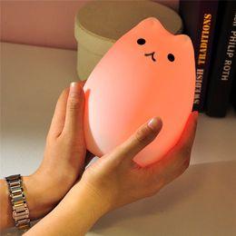 Coloré 7 Couleurs Chat LED Enfants Veilleuse Animal Silicone Doux Dessin Animé Bébé Nursery Lampe Respiration LED Veilleuse USB ? partir de fabricateur