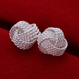Wholesale Wholesale Silver Mesh Balls - Mesh Ball Stud Earrings Simple Silver Jewelry 925 Sterling Silver Earrings Cool Funky Women's Fashion Jewelry High Quality Gifts