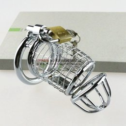 Wholesale Male Chastity Free Shipping - Free shipping Men Adult chastity Belt Device stainless steel sex toys Male Cock Cage Penis ring Cage for men sex