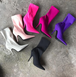 Wholesale Leather Leg Socks - New Fashion Women's Elastic force Boots socks pointed Toe High Heel Shoes Sexy Ladies Slim leg Boots Woman Short boots