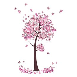 Wholesale Tree Wall Decal Butterfly - Creative Pink Tree Pink Butterfly Wall Stickers Novelty Wall Decals Bedroom Living Room Home Decorations WS505
