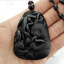 Wholesale Carving Jade Pendants - 2016 New Fashion Arrival Real Fashion Hand-carved Panda Pendant Natural Obsidian Necklace Fine Jade Jewelry For Women Men Sale Free Rope