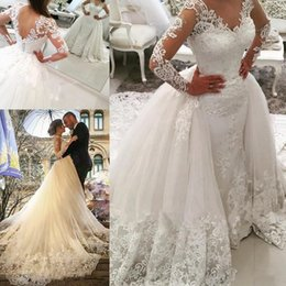 Wholesale sexy button front dress - Vintage Long Sleeves Wedding Dresses With Detachable Skirt Sheer V-neck Beads Sheath Wedding Gowns Tulle Back Covered Button Bridal Dress