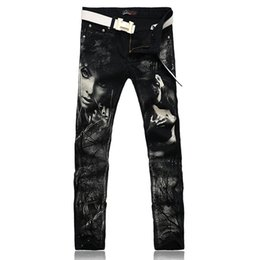 Wholesale Colored Drawing Jeans - Wholesale-New Individual Design Fashion Male Colored Drawing Straight Jeans Men's Denim Movie Characters Pattern Printed Jean For Men