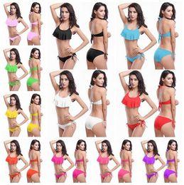 Wholesale Sexy Elegant Bikinis - Hot selling elegant Sexy Women Swimsuit Bathing Suits Double-layer reticulated breast implants Swim Halter Bikini Set Beach Swimwear