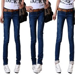 Wholesale High Waisted Womens - 2017 Fashion High Waisted Jeans Womens skinny Pants Plus Size Jeans Female Elastic Pencil Pants skinny Jeans straight long pants 25-36