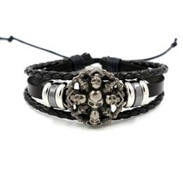 Wholesale Boys Skulls - Europe Punk Skull Ring Bracelet for Men Non-mainstream Personality Rivet Leather Bracelet Boys Bracelet Accessories Wholesale