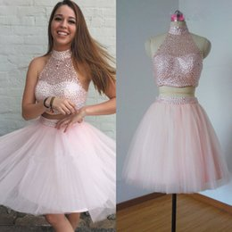 Wholesale Two Button T Shirt - 2016 Chic Blush Pink Beaded Two-Piece Homecoming Dresses Halter Neck with Beading A Line Sweet 16 Girls Graduation Gowns Formal Prom Dresses