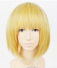 Wholesale Attack Titan Armin Cosplay - 100% free shipping New High Quality Fashion Picture full lace wigs>>Japan Anime Attack on Titan Armin Arlart Short Dark Blonde Cosplay Wig #