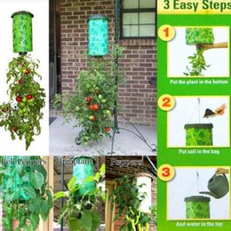 Wholesale Outdoor Planters Wholesale - Topsy Turvy Tomato Outdoor Upside Down Hanging Planter System Garden Plant Greening Planting Tomato Planter OOA2501