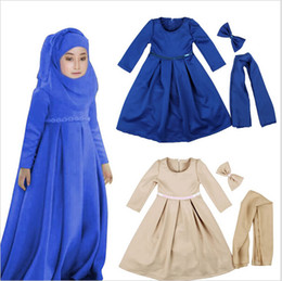 Wholesale Baby Holiday Dresses - Muslim Maxi Dresses Baby Girls Clothes Costume Children Long Sleeve Dress+Bow+Scarf Vestidos Girl Clothing Sets Party Holiday Vintage