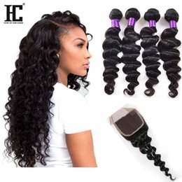 Wholesale Loose Wave Brazilian Hair - Brazillian Loose Wave With Closure Cheap Human Hair Bundles With Closure 4 Bundles With Closure Brazilian Loose Wave Virgin Hair
