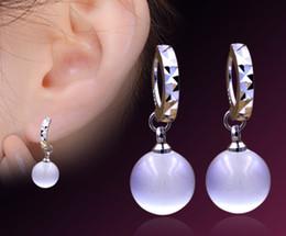 Wholesale White Opal Silver Earrings - New 925 sterling silver stars Korea opal earrings women's earrings ear jewelry wholesale Stud Earrings