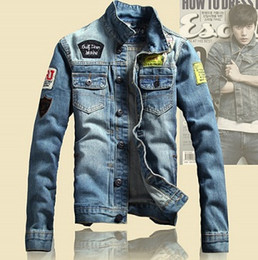 Wholesale Army Print Jeans - Spring Mens Jackets Brand New Slim Fit Vintage Denim Patch Designs Jeans Jacket Men Coats Plus Size Jaqueta Masculina MJK13