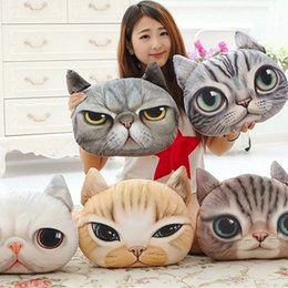Wholesale Animal Shaped Cases - 3D Cat Pillow Case Dog Face Cushion Cute Pillow Cartoon Animal Head Shaped Pillow 38*40cm Without Filler Creative Christmas Gifts 2018