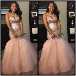 Wholesale Teen Girls Evening Dresses - Shinning Pink Sweetheart Mermaid Prom Dress Major Beading Sequins Tulle Girls Pageant Dress For Teens Lace Up Back Celebrity Evening Gowns