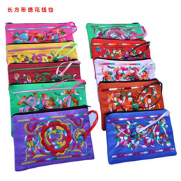 Wholesale Ethnic Craft Gift - Ethnic Craft Small Bell Zipper Satin Gift Bag For Jewelry Pouch Packing Bag Chinese Embroidered Credit Card Holder Women Coin Bag Purse
