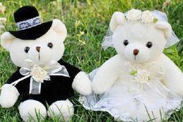 Wholesale Bride Groom Dolls Plush - Wholesale-Kawaii 1Pair Wedding Bear Plush TOY; Gift Bride & Groom Bear Bouquet DOLL TOY ; Plush Stuffed TOY 10CM Soft Figure DOLL TOY