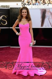 Wholesale Maria Menounos Pink Dress - Sexy Mermaid Prom Dresses Rose Maria Menounos Red Carpet 85th Oscars Academy Awards Sexy Celebrity Dresses