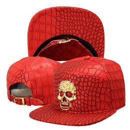 Wholesale Bull Caps - Luxury PU Leather Gold Rhinestone Crocodile Superman 3D Bulls Baseball Caps VIP Ghost Snapback Hats Men Momen Gorras hip hop hat