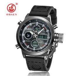 Wholesale Silicone Alarm - 2017 OHSEN Brand Mens Fashion Digital Quartz Dress Wristwatch Silicone Strap Black Military LCD Alarm Hand Clocks Watches Montre Homme Gift