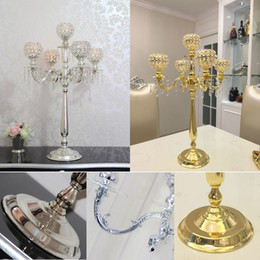 Wholesale Candle Holders Wholesale Weddings - 75CM Metal Gold Silver Candle Holders 5-Arms With Crystals Stand Pillar Candlestick For Wedding Table Centerpieces Decoration