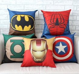 Wholesale Textiles Knitting Yarn - The Avengers Pillow Case Cartoon Pillow Case Superman Batman Wade Printed Cushion Cover Cotton Linen Pillow Cover Home Textiles Xmas Gift