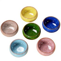 Copos de chá do estilo japonês on-line-6 pçs / lote Kung Fu chá xícara de cerâmica pacote todo Binglie esmalte roxo padrão de seis cores China chinês-estilo japonês copo pequeno