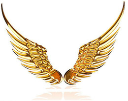 Wholesale Eagles Car Stickers - 1 pair 3D Car decoration stickers large three-dimensional metal eagle wings Angel Wings stickers car stickers personalized car stickers gold